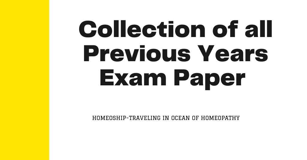 Collection of all Previous Years Exam Paper